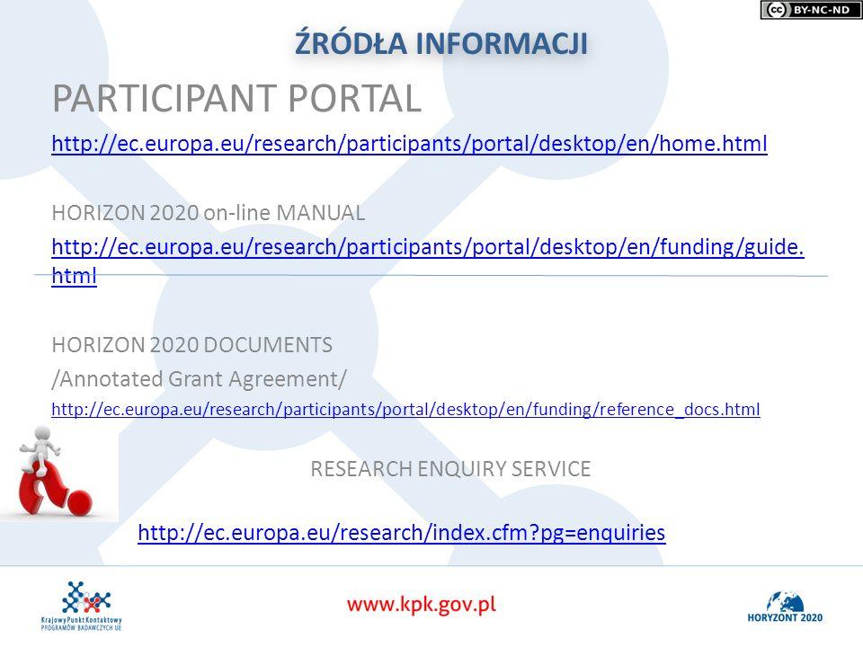 ŹRÓDŁA INFORMACJI PARTICIPANT PORTAL http://ec.europa.eu/research/participants/portal/desktop/en/home.html HORIZON 2020 on-line MANUAL http://ec.europa.eu/research/participants/portal/desktop/en/funding/guide.