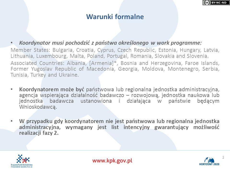 Warunki formalne Koordynator musi pochodzić z państwa określonego w work programme: Member States: Bulgaria, Croatia, Cyprus, Czech Republic, Estonia,