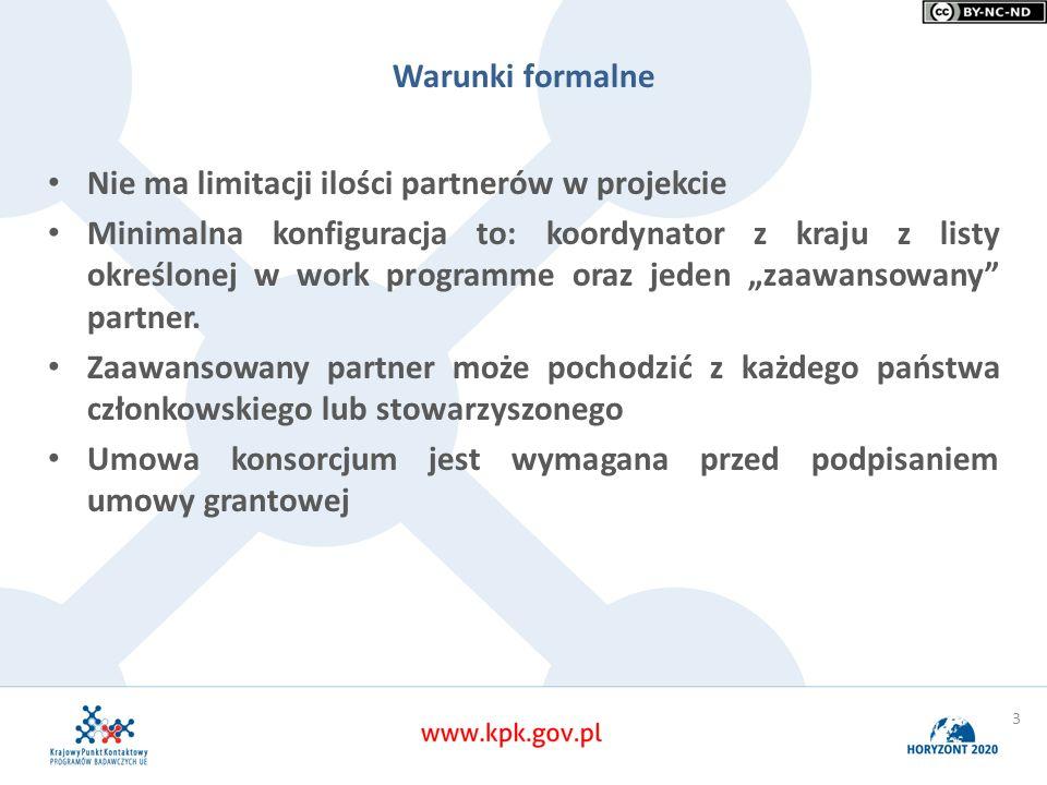 Warunki formalne Nie ma limitacji ilości partnerów w projekcie Minimalna konfiguracja to: koordynator z kraju z listy określonej w work programme oraz