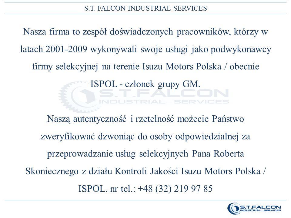 S.T. FALCON INDUSTRIAL SERVICES Nasza firma to zespół doświadczonych pracowników, którzy w latach 2001-2009 wykonywali swoje usługi jako podwykonawcy