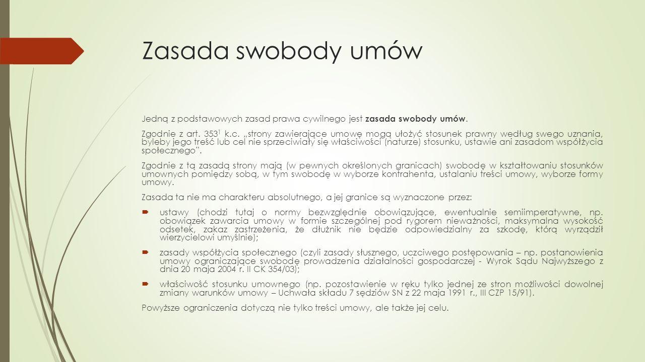 Rodzaje umów Poniżej zaprezentowano przykładowe rodzaje umów występujących w obrocie gospodarczym.