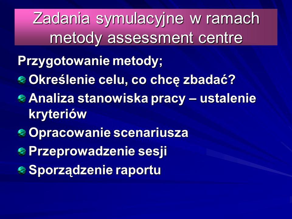 Zadania symulacyjne w ramach metody assessment centre Przygotowanie metody; Określenie celu, co chcę zbadać.