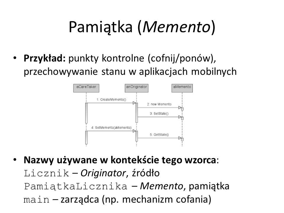 Przykład: punkty kontrolne (cofnij/ponów), przechowywanie stanu w aplikacjach mobilnych Nazwy używane w kontekście tego wzorca: Licznik – Originator, źródło PamiątkaLicznika – Memento, pamiątka main – zarządca (np.