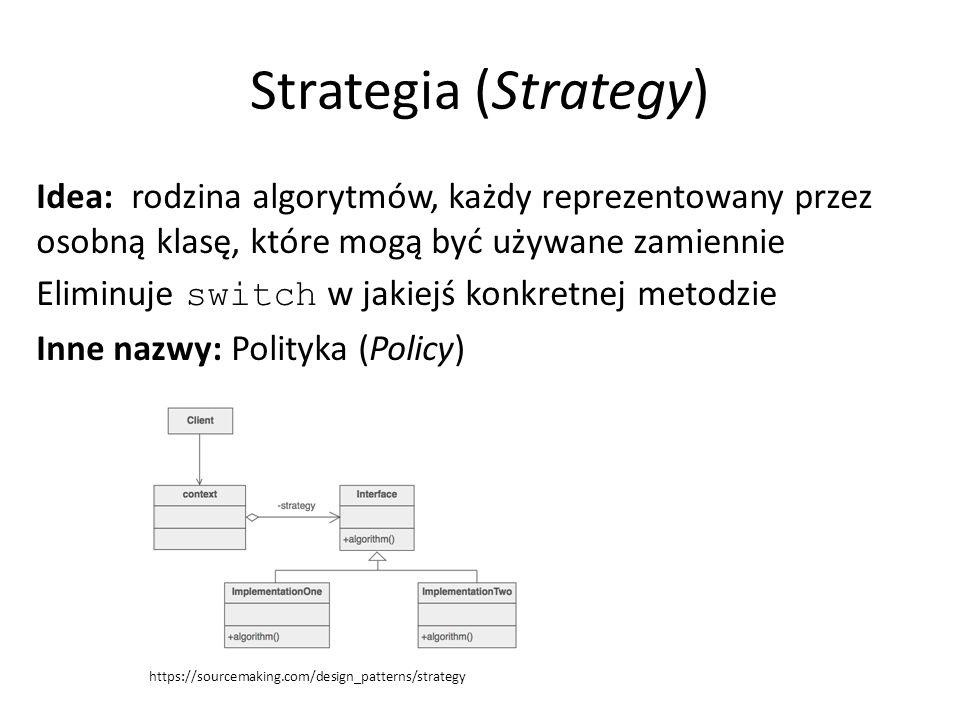 Strategia (Strategy) Idea: rodzina algorytmów, każdy reprezentowany przez osobną klasę, które mogą być używane zamiennie Eliminuje switch w jakiejś konkretnej metodzie Inne nazwy: Polityka (Policy) https://sourcemaking.com/design_patterns/strategy