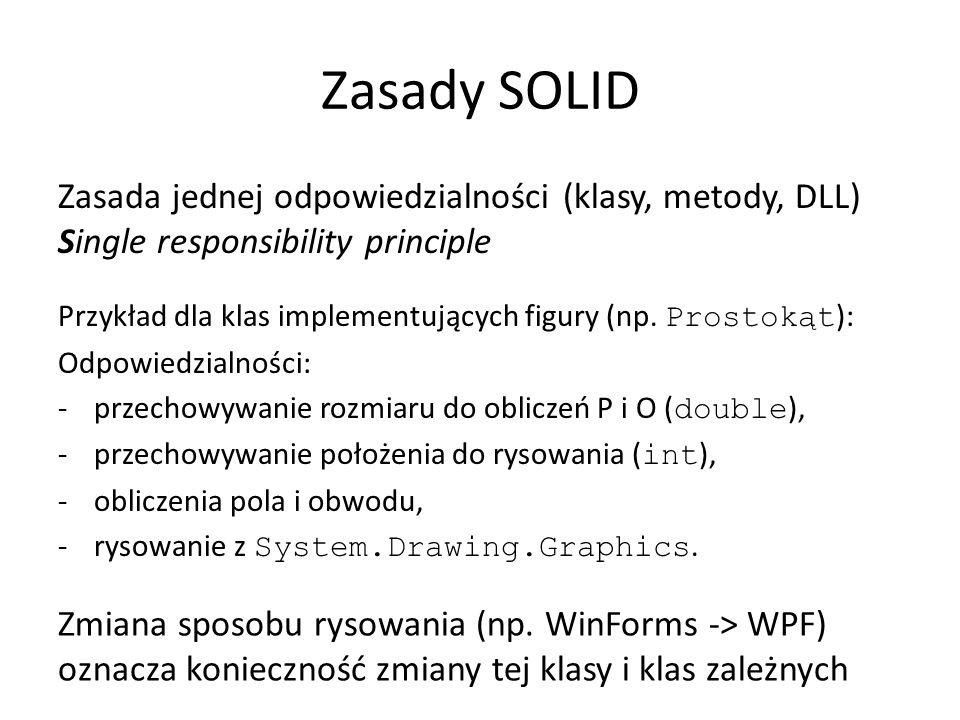 Zasady SOLID Zasada jednej odpowiedzialności (klasy, metody, DLL) Single responsibility principle Przykład dla klas implementujących figury (np.