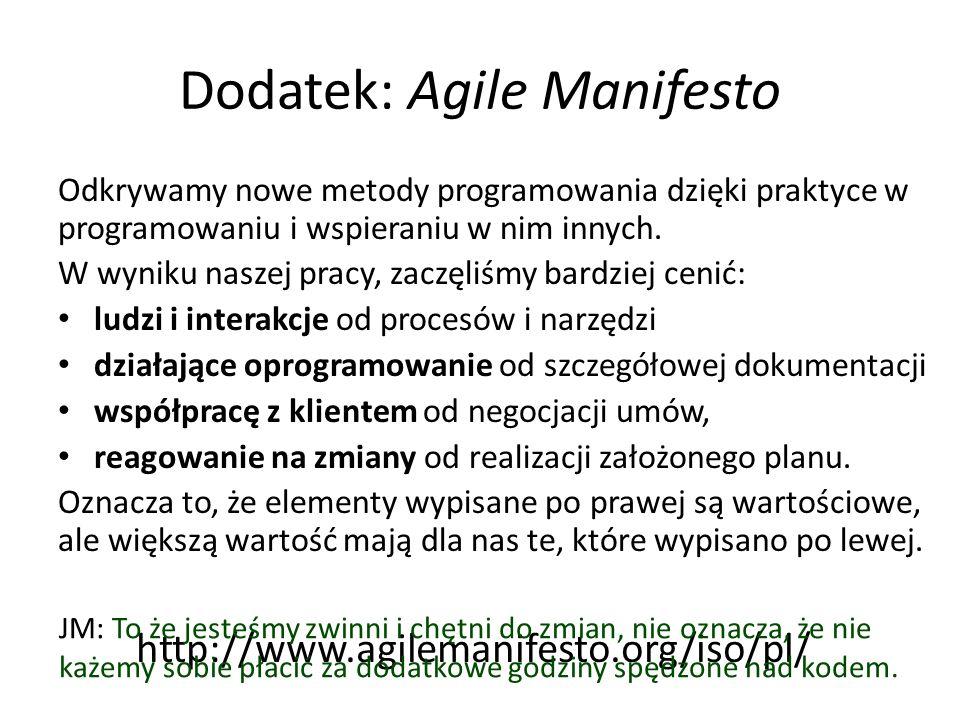 Dodatek: Agile Manifesto Odkrywamy nowe metody programowania dzięki praktyce w programowaniu i wspieraniu w nim innych.