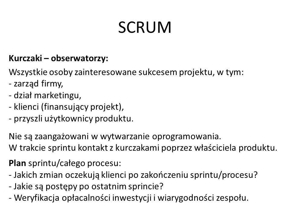 SCRUM Kurczaki – obserwatorzy: Wszystkie osoby zainteresowane sukcesem projektu, w tym: - zarząd firmy, - dział marketingu, - klienci (finansujący projekt), - przyszli użytkownicy produktu.