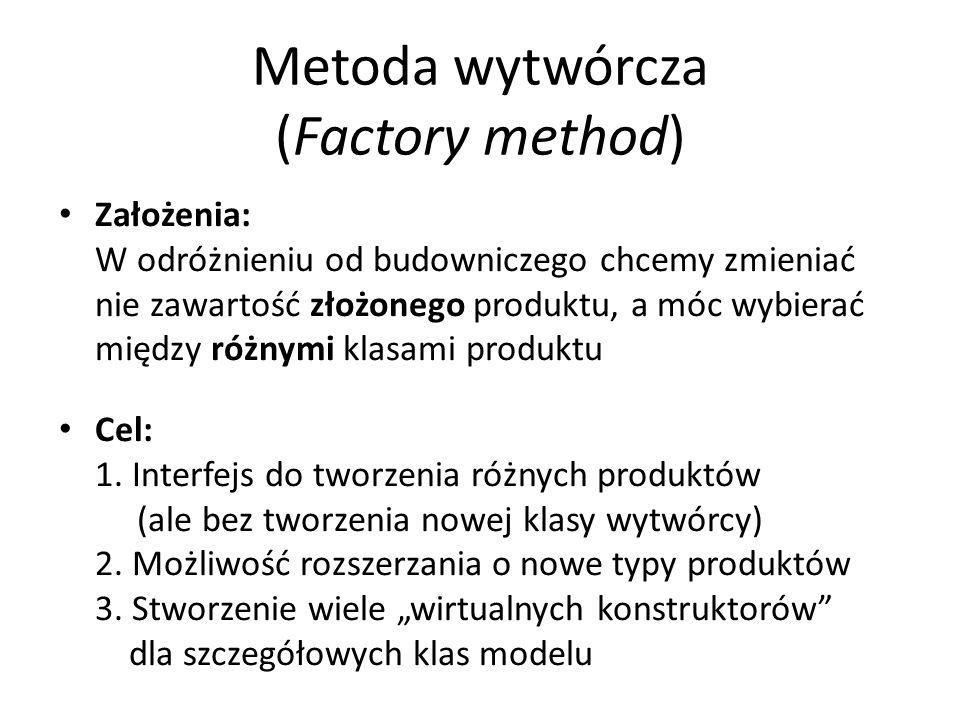 Metoda wytwórcza (Factory method) Założenia: W odróżnieniu od budowniczego chcemy zmieniać nie zawartość złożonego produktu, a móc wybierać między różnymi klasami produktu Cel: 1.
