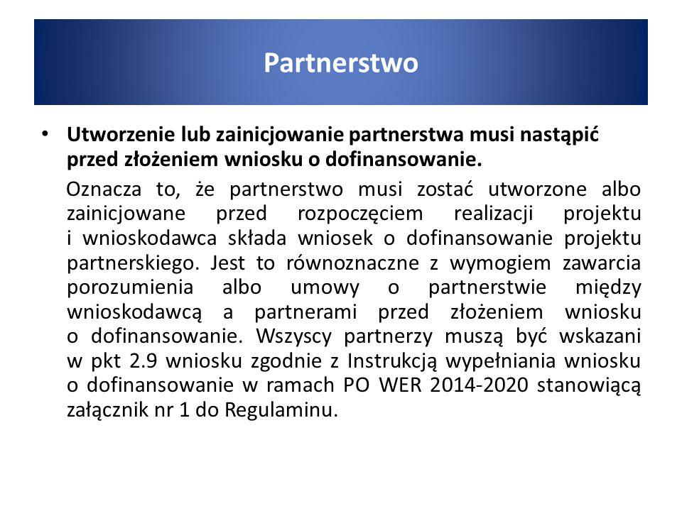 Utworzenie lub zainicjowanie partnerstwa musi nastąpić przed złożeniem wniosku o dofinansowanie.