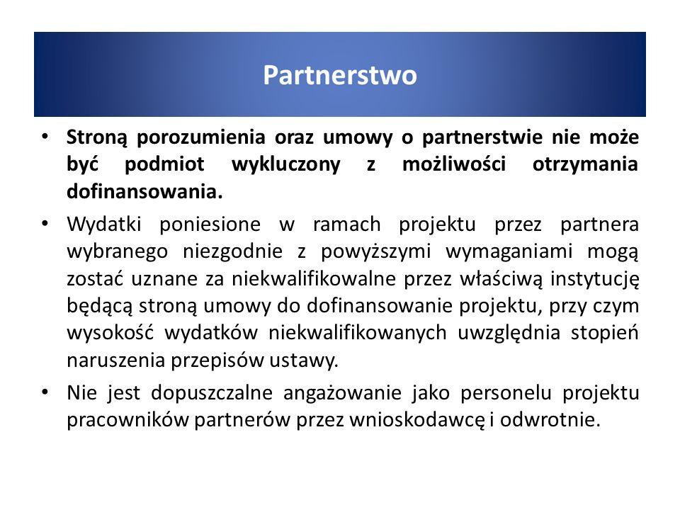 Stroną porozumienia oraz umowy o partnerstwie nie może być podmiot wykluczony z możliwości otrzymania dofinansowania.