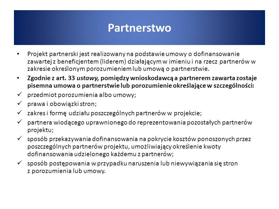 Projekt partnerski jest realizowany na podstawie umowy o dofinansowanie zawartej z beneficjentem (liderem) działającym w imieniu i na rzecz partnerów w zakresie określonym porozumieniem lub umową o partnerstwie.