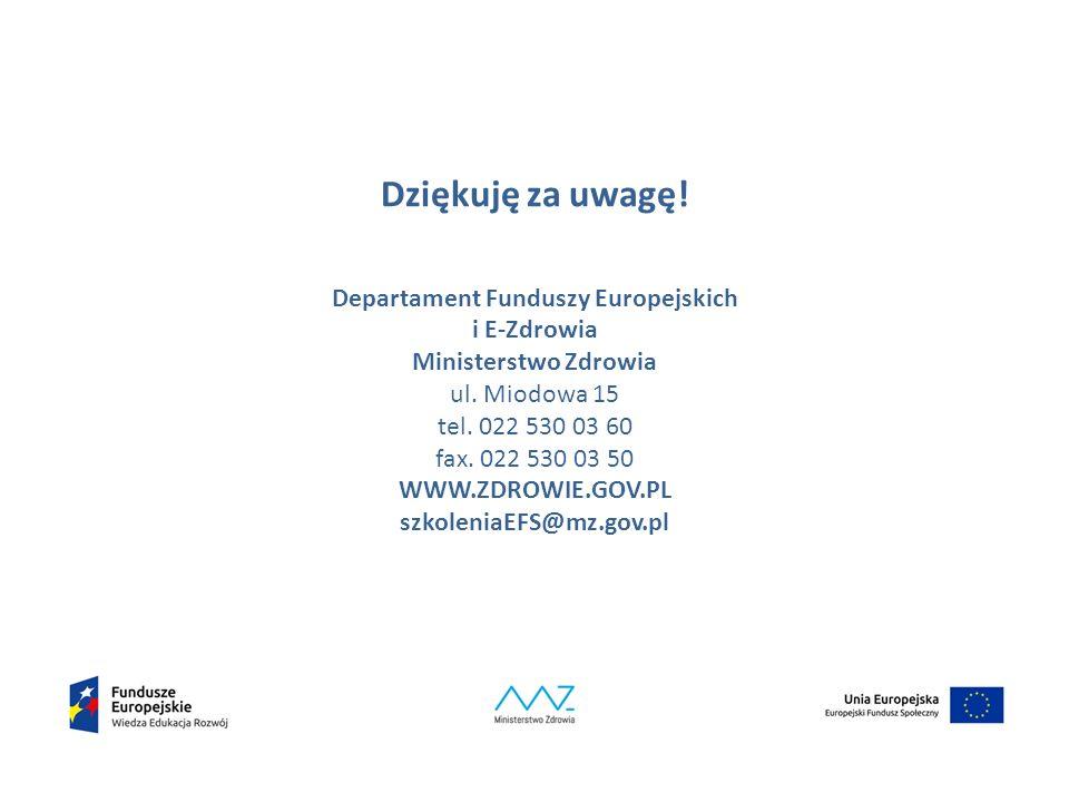 Dziękuję za uwagę. Departament Funduszy Europejskich i E-Zdrowia Ministerstwo Zdrowia ul.