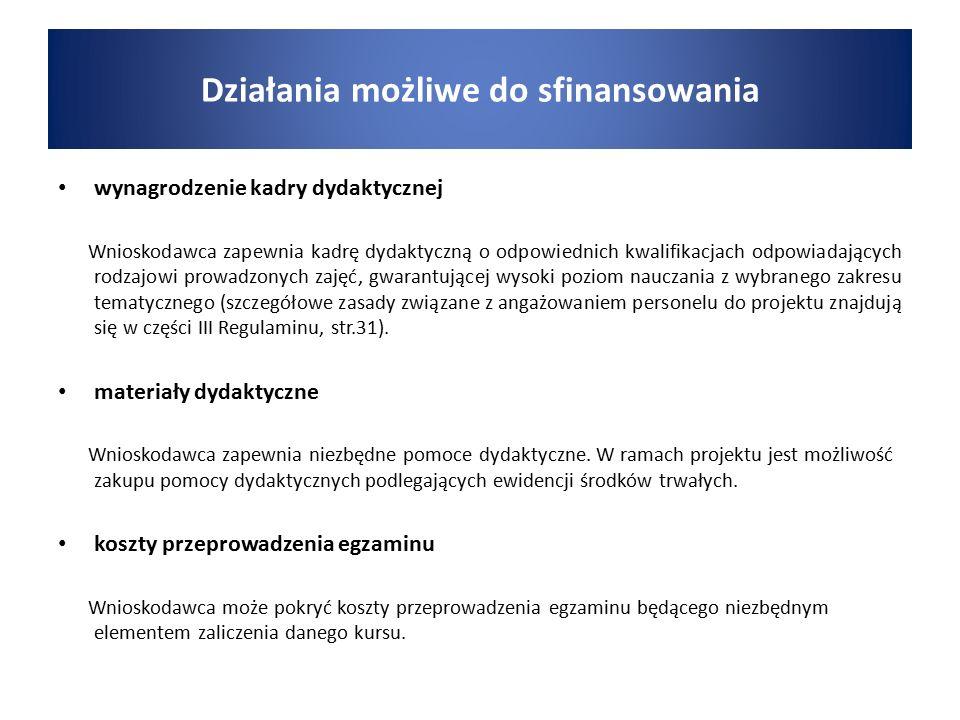 wynagrodzenie kadry dydaktycznej Wnioskodawca zapewnia kadrę dydaktyczną o odpowiednich kwalifikacjach odpowiadających rodzajowi prowadzonych zajęć, g