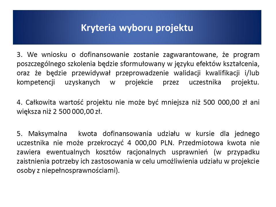 3. We wniosku o dofinansowanie zostanie zagwarantowane, że program poszczególnego szkolenia będzie sformułowany w języku efektów kształcenia, oraz że