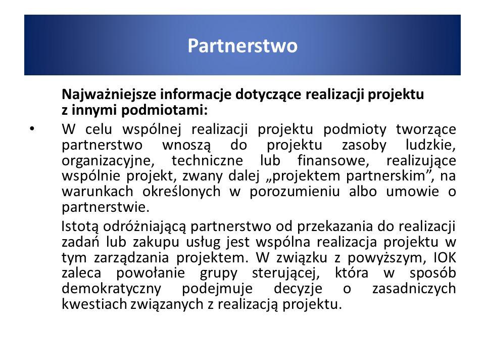 Partnerstwo Najważniejsze informacje dotyczące realizacji projektu z innymi podmiotami: W celu wspólnej realizacji projektu podmioty tworzące partners