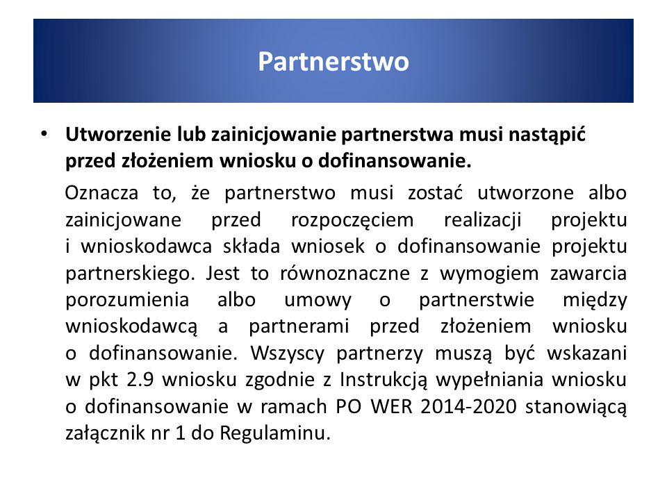 Utworzenie lub zainicjowanie partnerstwa musi nastąpić przed złożeniem wniosku o dofinansowanie. Oznacza to, że partnerstwo musi zostać utworzone albo