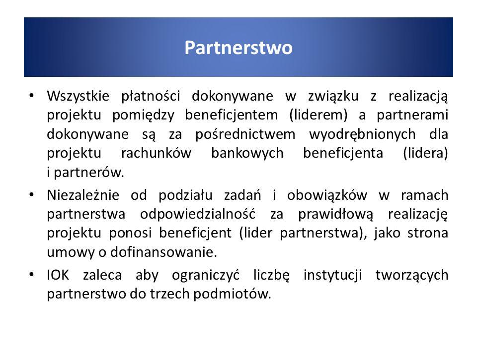 Wszystkie płatności dokonywane w związku z realizacją projektu pomiędzy beneficjentem (liderem) a partnerami dokonywane są za pośrednictwem wyodrębnionych dla projektu rachunków bankowych beneficjenta (lidera) i partnerów.