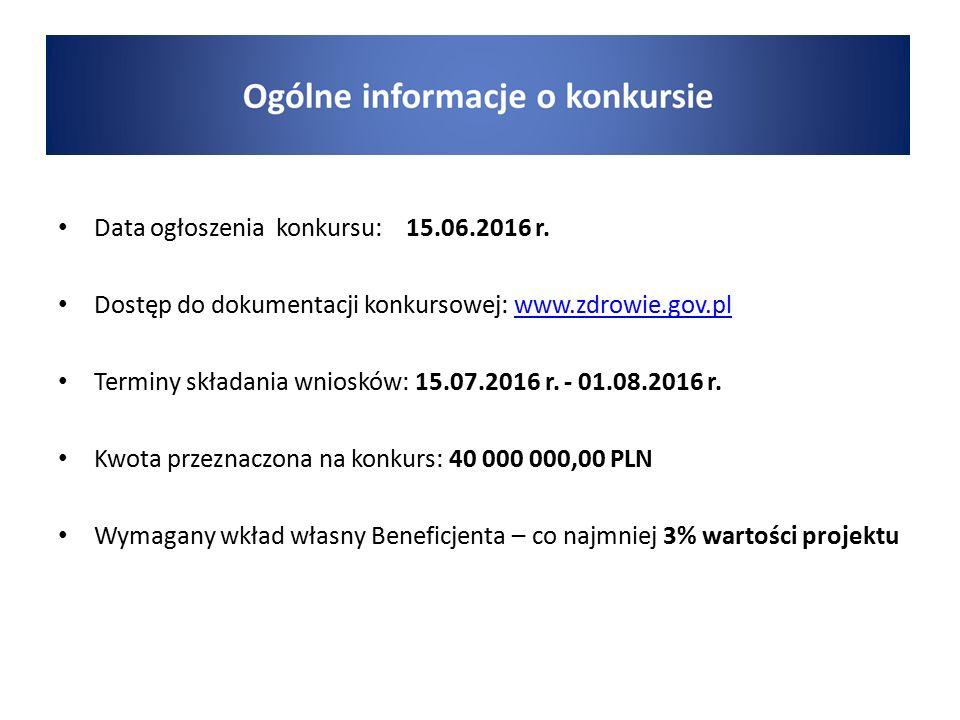 Data ogłoszenia konkursu: 15.06.2016 r. Dostęp do dokumentacji konkursowej: www.zdrowie.gov.plwww.zdrowie.gov.pl Terminy składania wniosków: 15.07.201