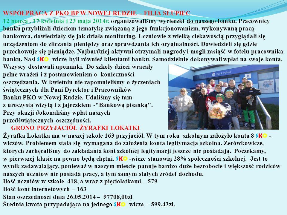WSPÓŁPRACA Z PKO BP W NOWEJ RUDZIE – FILIA SŁUPIEC 12 marca, 17 kwietnia i 23 maja 2014r.