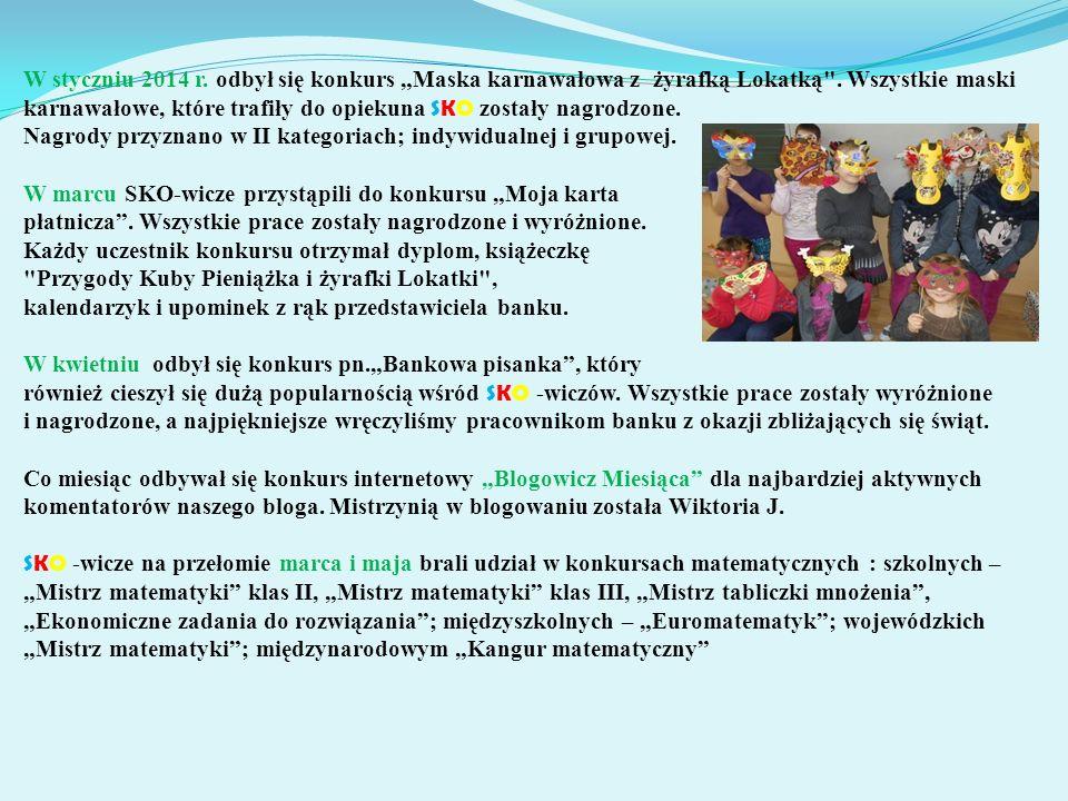 """W styczniu 2014 r. odbył się konkurs """"Maska karnawałowa z żyrafką Lokatką ."""