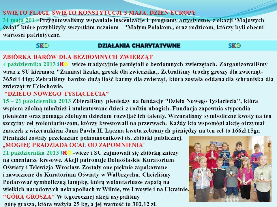 """ŚWIĘTO FLAGI, ŚWIĘTO KONSTYTUCJI 3 MAJA, DZIEŃ EUROPY 31 maja 2014 Przygotowaliśmy wspaniałe inscenizacje i programy artystyczne, z okazji 'Majowych świąt które przybliżyły wszystkim uczniom - Małym Polakom"""" oraz rodzicom, którzy byli obecni wartości patriotyczne."""