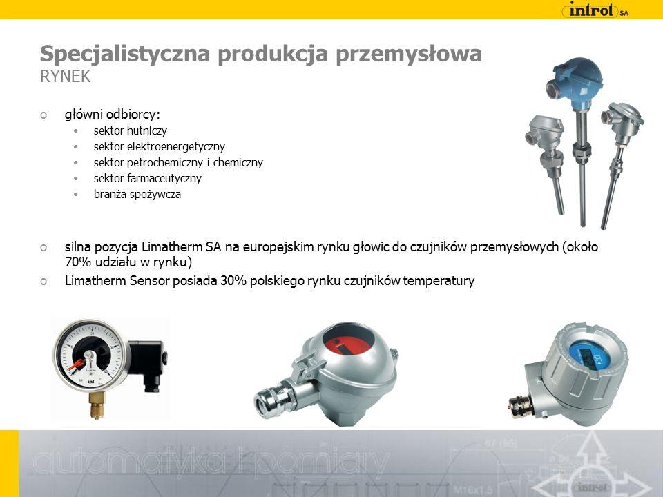 Specjalistyczna produkcja przemysłowa RYNEK ogłówni odbiorcy: sektor hutniczy sektor elektroenergetyczny sektor petrochemiczny i chemiczny sektor farmaceutyczny branża spożywcza osilna pozycja Limatherm SA na europejskim rynku głowic do czujników przemysłowych (około 70% udziału w rynku) oLimatherm Sensor posiada 30% polskiego rynku czujników temperatury