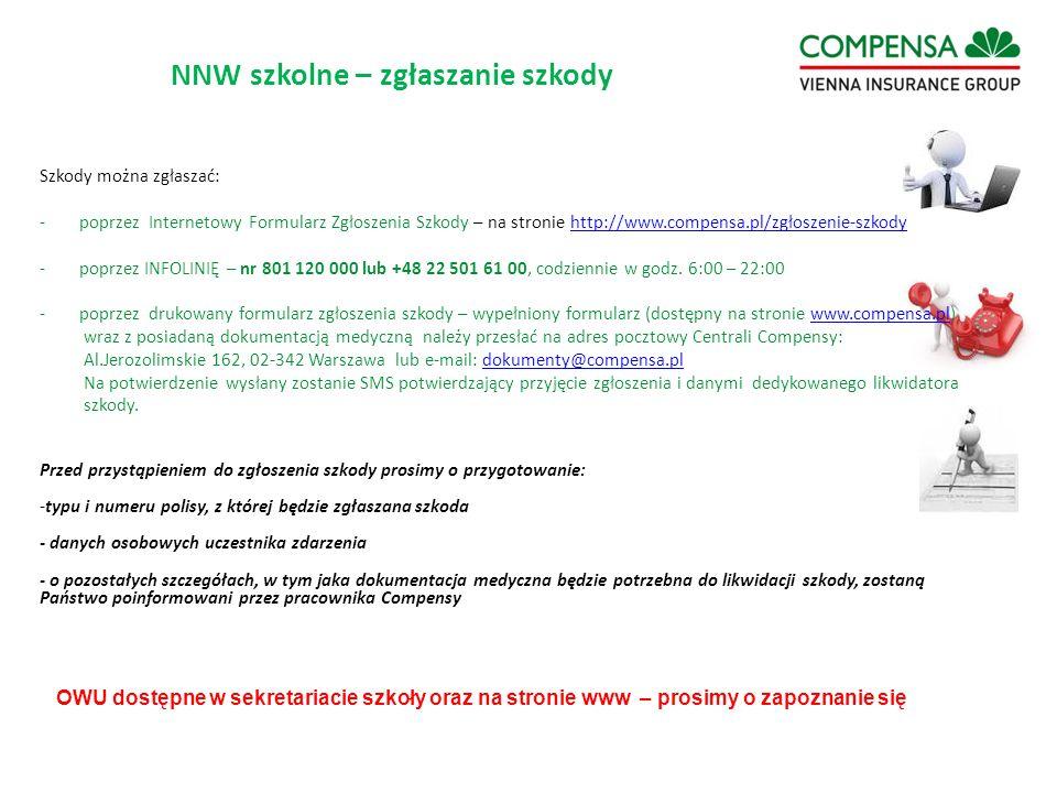 Szkody można zgłaszać: -poprzez Internetowy Formularz Zgłoszenia Szkody – na stronie http://www.compensa.pl/zgłoszenie-szkodyhttp://www.compensa.pl/zg