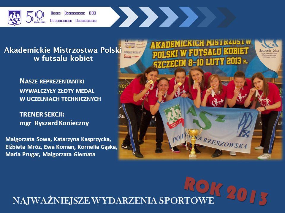 K LUBU U CZELNIANEGO AZS P OLITECHNIKI R ZESZOWSKIEJ N ASZE REPREZENTANTKI WYWALCZYŁY ZŁOTY MEDAL W UCZELNIACH TECHNICZNYCH Akademickie Mistrzostwa Polski w futsalu kobiet NAJWA Ż NIEJSZE WYDARZENIA SPORTOWE ROK 2013 TRENER SEKCJI: mgr Ryszard Konieczny Małgorzata Sowa, Katarzyna Kasprzycka, Elżbieta Mróz, Ewa Koman, Kornelia Gąska, Maria Prugar, Małgorzata Giemata