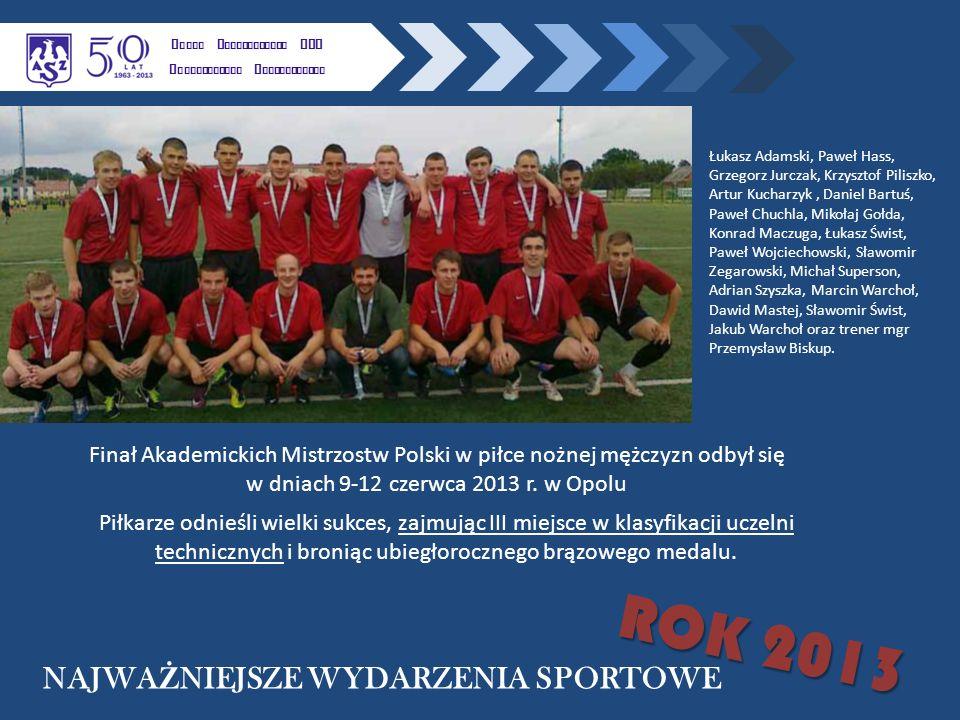 K LUBU U CZELNIANEGO AZS P OLITECHNIKI R ZESZOWSKIEJ NAJWA Ż NIEJSZE WYDARZENIA SPORTOWE ROK 2013 Finał Akademickich Mistrzostw Polski w piłce nożnej mężczyzn odbył się w dniach 9-12 czerwca 2013 r.