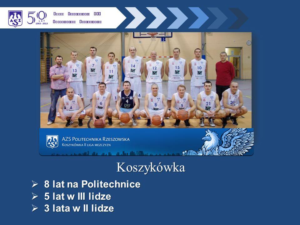 K LUBU U CZELNIANEGO AZS P OLITECHNIKI R ZESZOWSKIEJ Koszykówka  8 lat na Politechnice  5 lat w III lidze  3 lata w II lidze