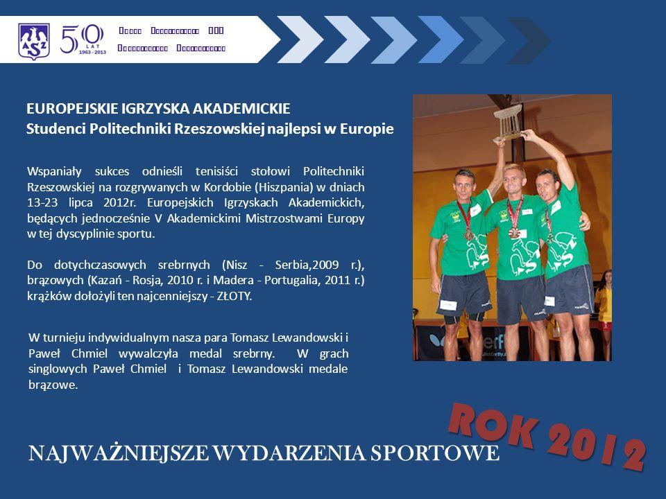 Wspaniały sukces odnieśli tenisiści stołowi Politechniki Rzeszowskiej na rozgrywanych w Kordobie (Hiszpania) w dniach 13-23 lipca 2012r.