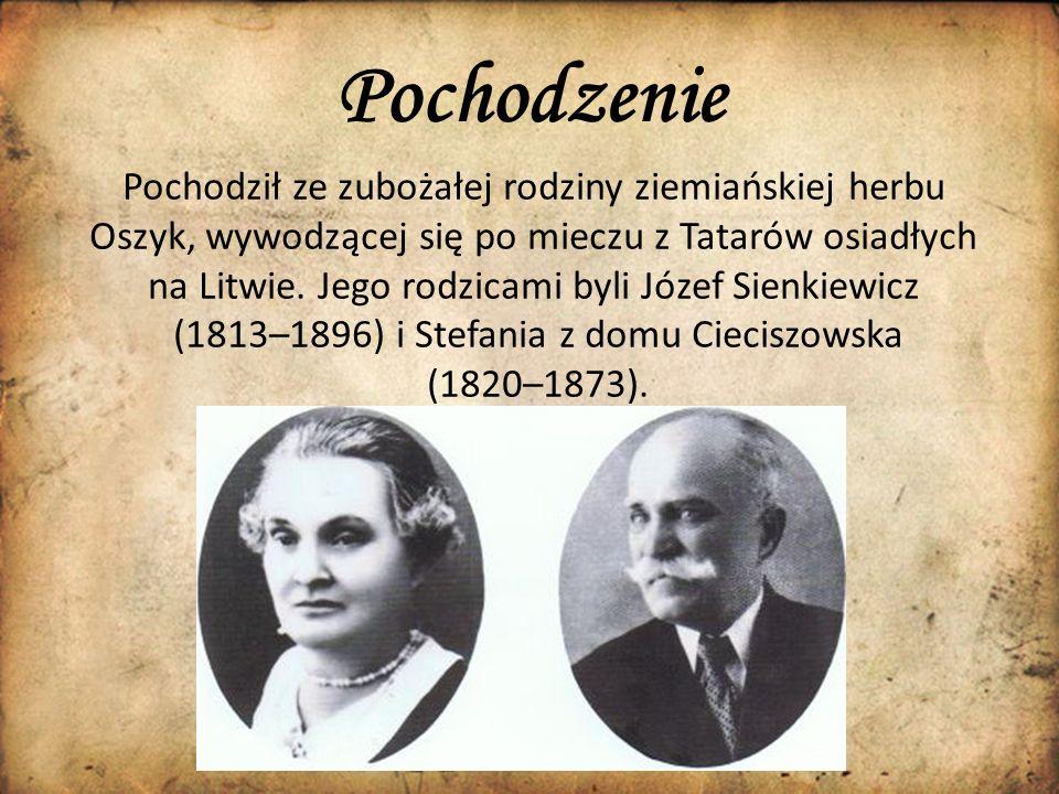 Pochodzenie. Pochodził ze zubożałej rodziny ziemiańskiej herbu Oszyk, wywodzącej się po mieczu z Tatarów osiadłych na Litwie. Jego rodzicami byli Józe