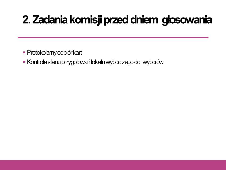 2. Zadania komisji przed dniem głosowania  Protokolarny odbiór kart  Kontrola stanu przygotowań lokalu wyborczego do wyborów