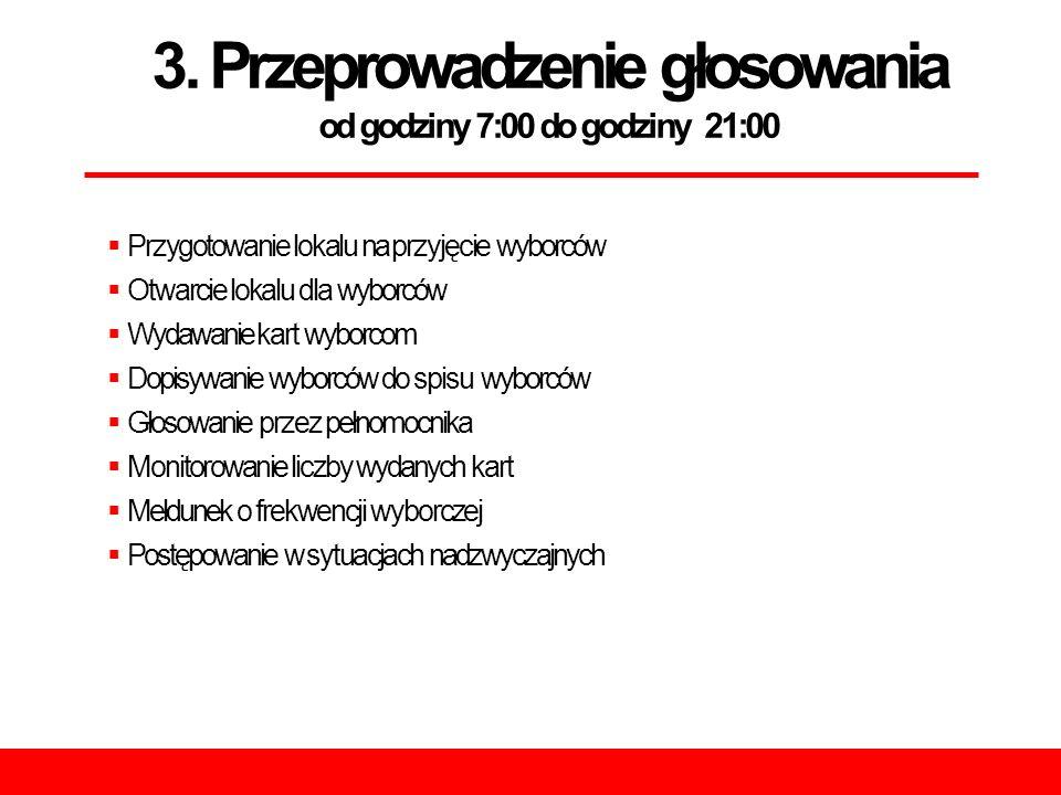 3. Przeprowadzenie głosowania od godziny 7:00 do godziny 21:00  Przygotowanie lokalu na przyjęcie wyborców  Otwarcie lokalu dla wyborców  Wydawanie
