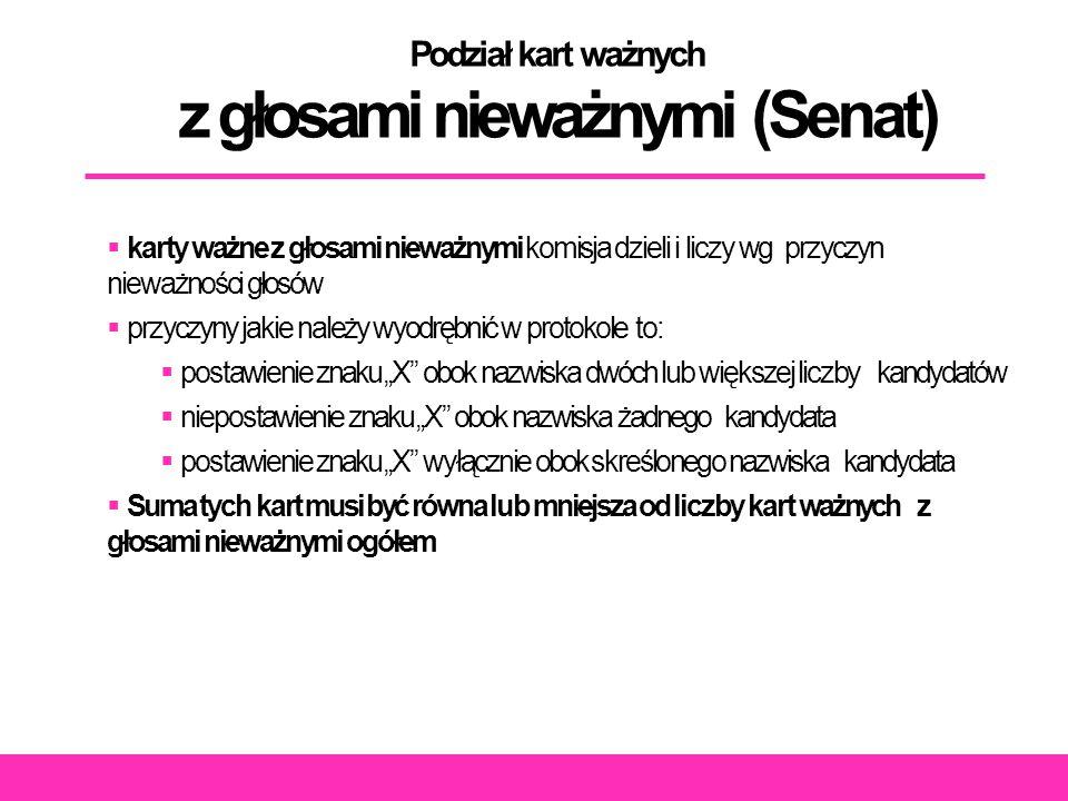 """Podział kart ważnych z głosami nieważnymi (Senat)  karty ważne z głosami nieważnymi komisja dzieli i liczy wg przyczyn nieważności głosów  przyczyny jakie należy wyodrębnić w protokole to:  postawienie znaku """"X obok nazwiska dwóch lub większej liczby kandydatów  niepostawienie znaku """"X obok nazwiska żadnego kandydata  postawienie znaku """"X wyłącznie obok skreślonego nazwiska kandydata  Suma tych kart musi być równa lub mniejsza od liczby kart ważnych z głosami nieważnymi ogółem"""