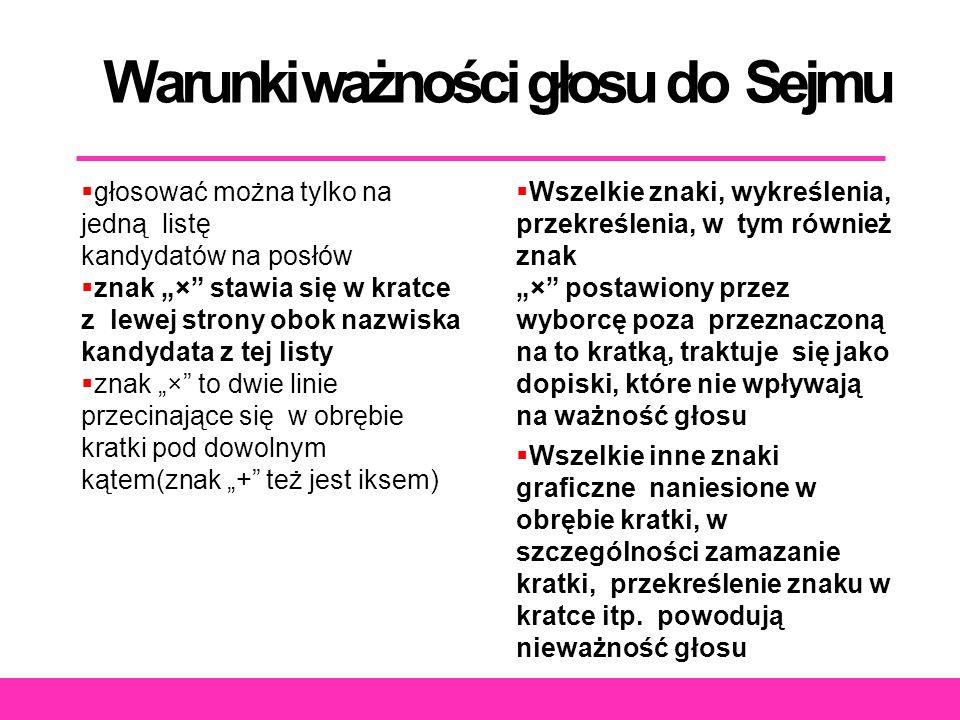 """Warunki ważności głosu do Sejmu  głosować można tylko na jedną listę kandydatów na posłów  znak """"×"""" stawia się w kratce z lewej strony obok nazwiska"""