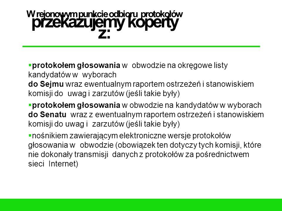 W rejonowym punkcie odbioru protokołów przekazujemy koperty z:  protokołem głosowania w obwodzie na okręgowe listy kandydatów w wyborach do Sejmu wra