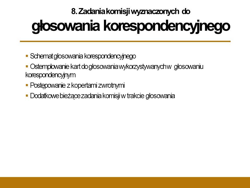 8. Zadania komisji wyznaczonych do głosowania korespondencyjnego  Schemat głosowania korespondencyjnego  Ostemplowanie kart do głosowania wykorzysty