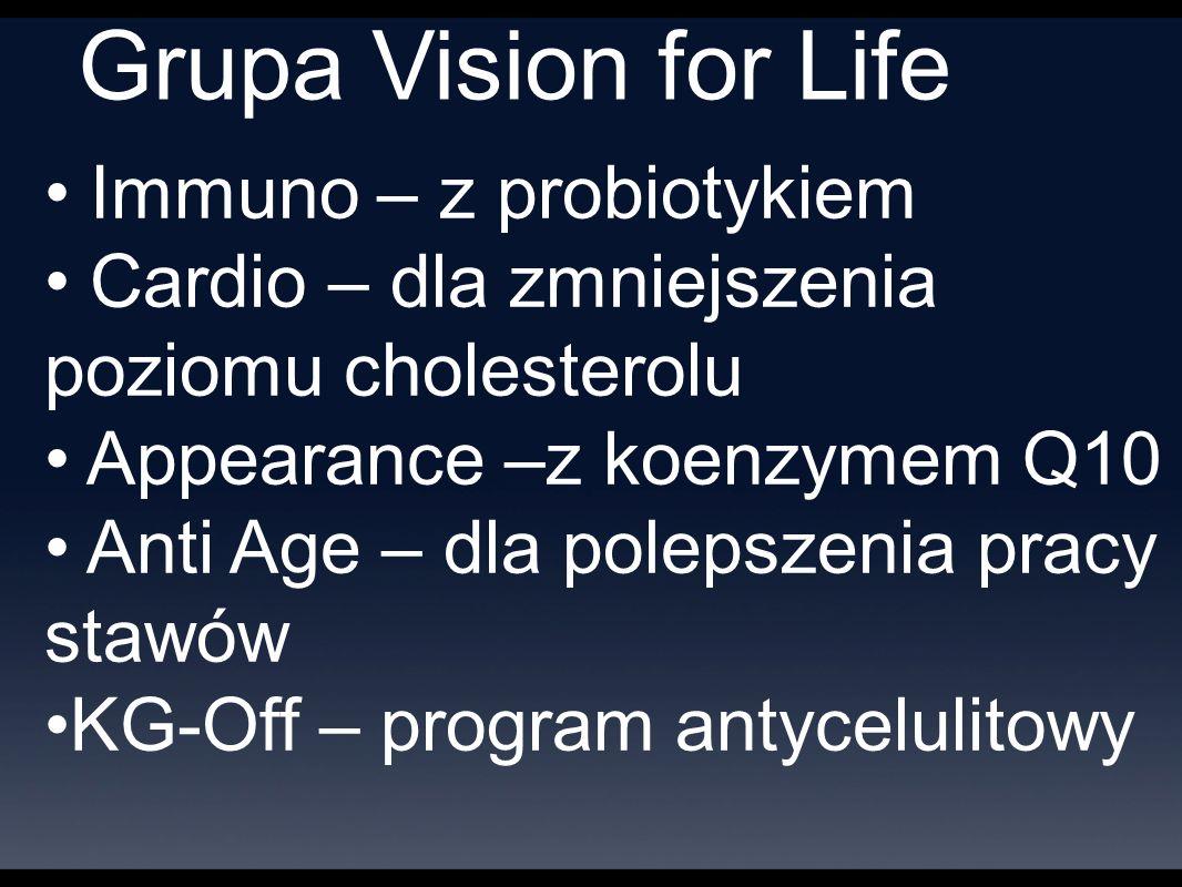 Grupa Vision for Life Immuno – z probiotykiem Cardio – dla zmniejszenia poziomu cholesterolu Appearance –z koenzymem Q10 Anti Age – dla polepszenia pracy stawów KG-Off – program antycelulitowy