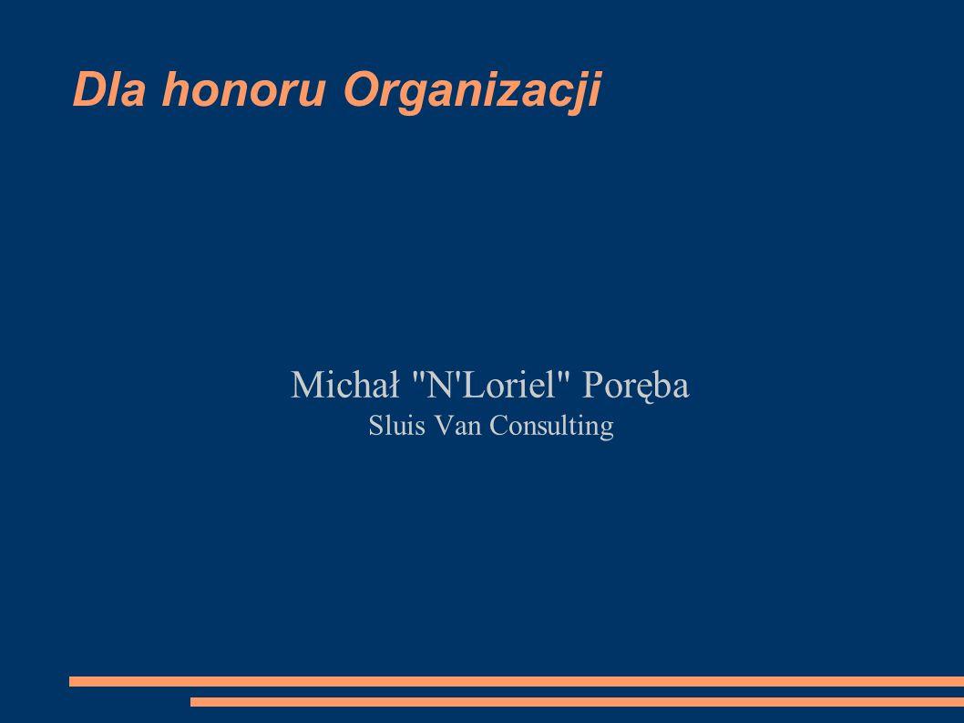 Dla honoru Organizacji Michał N Loriel Poręba Sluis Van Consulting