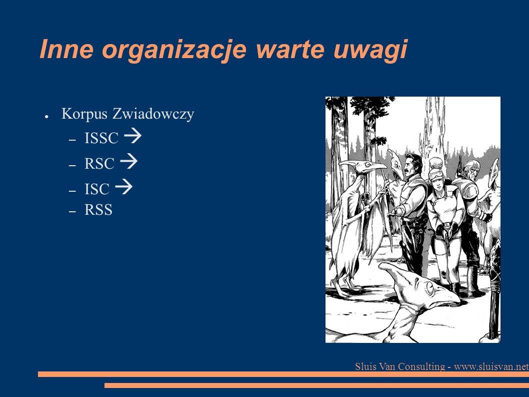 Sluis Van Consulting - www.sluisvan.net Inne organizacje warte uwagi ● Korpus Zwiadowczy – ISSC  – RSC  – ISC  – RSS