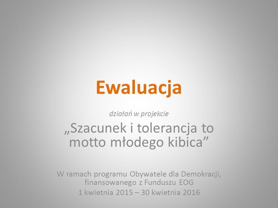 """Ewaluacja działań w projekcie """"Szacunek i tolerancja to motto młodego kibica W ramach programu Obywatele dla Demokracji, finansowanego z Funduszu EOG 1 kwietnia 2015 – 30 kwietnia 2016"""