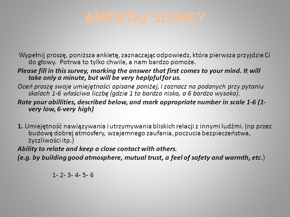 ANKIETA/ SURVEY Wypełnij proszę, poniższa ankietę, zaznaczając odpowiedz, która pierwsza przyjdzie Ci do głowy.