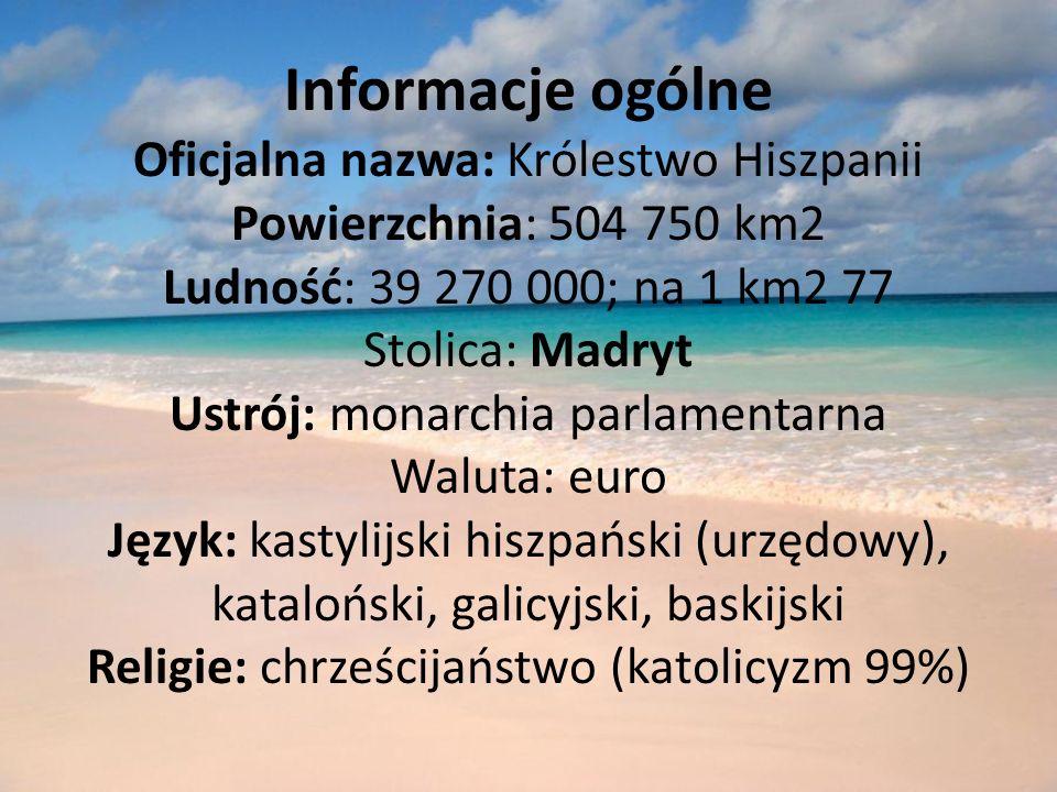 Informacje ogólne Oficjalna nazwa: Królestwo Hiszpanii Powierzchnia: 504 750 km2 Ludność: 39 270 000; na 1 km2 77 Stolica: Madryt Ustrój: monarchia parlamentarna Waluta: euro Język: kastylijski hiszpański (urzędowy), kataloński, galicyjski, baskijski Religie: chrześcijaństwo (katolicyzm 99%)