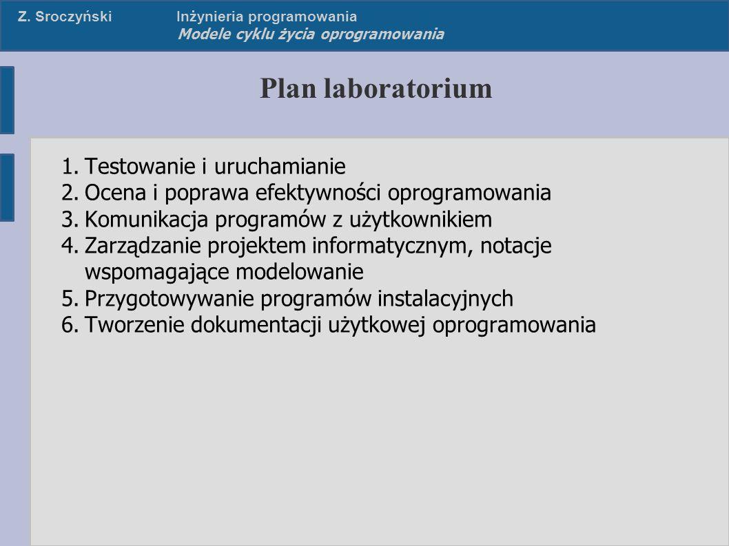 Z. SroczyńskiInżynieria programowania Modele cyklu życia oprogramowania Plan laboratorium 1.Testowanie i uruchamianie 2.Ocena i poprawa efektywności o