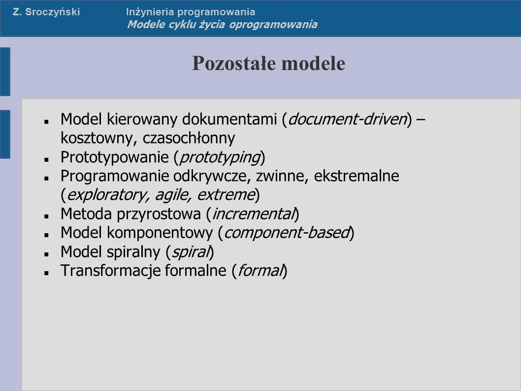 Z. SroczyńskiInżynieria programowania Modele cyklu życia oprogramowania Pozostałe modele Model kierowany dokumentami (document-driven) – kosztowny, cz
