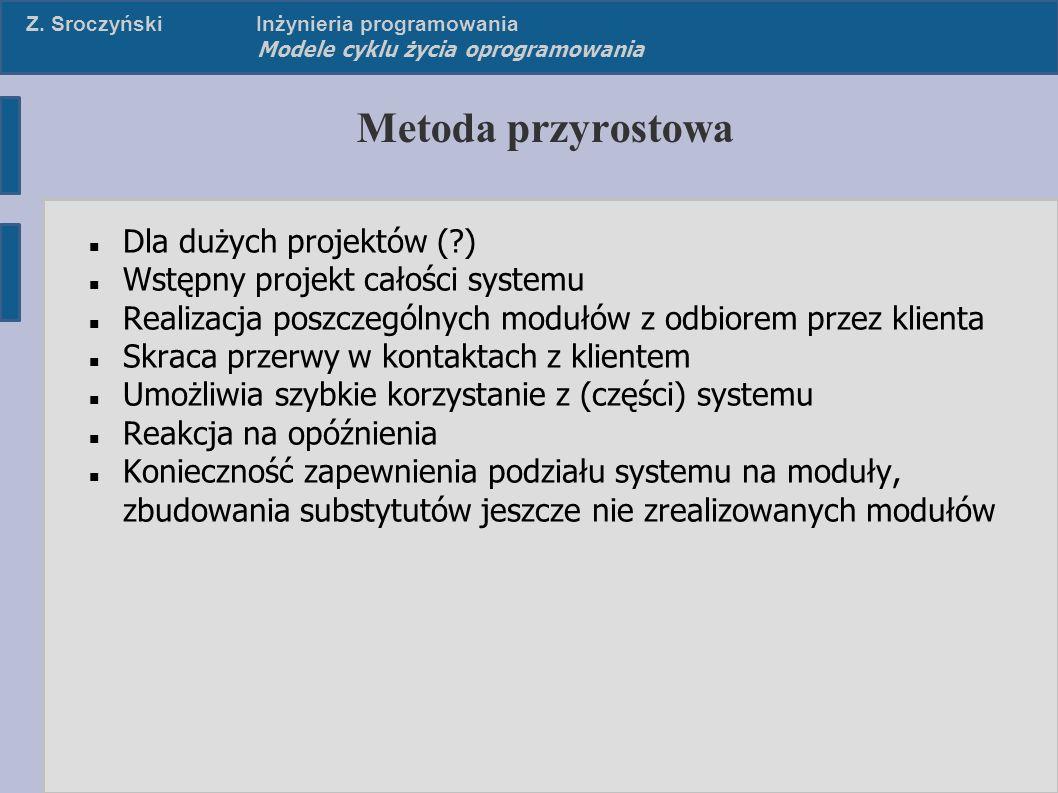 Z. SroczyńskiInżynieria programowania Modele cyklu życia oprogramowania Metoda przyrostowa Dla dużych projektów (?) Wstępny projekt całości systemu Re