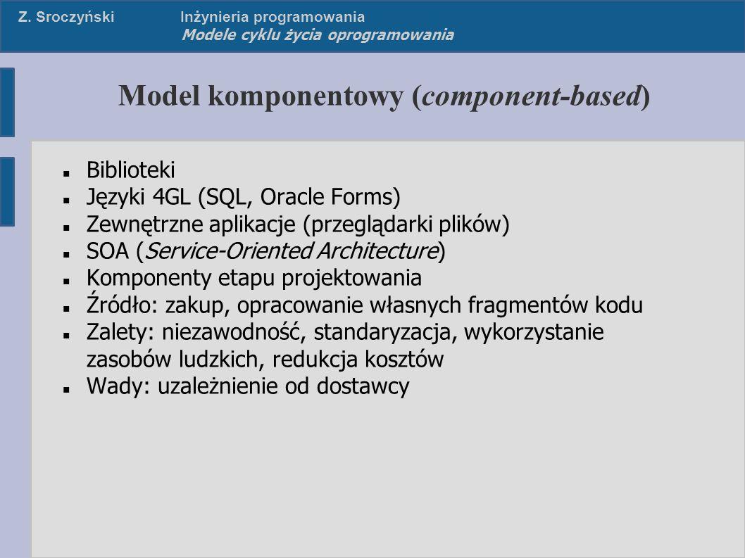 Z. SroczyńskiInżynieria programowania Modele cyklu życia oprogramowania Model komponentowy (component-based) Biblioteki Języki 4GL (SQL, Oracle Forms)