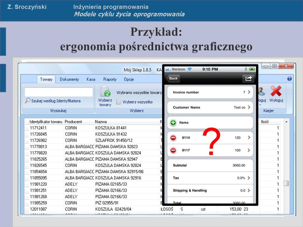 Z. SroczyńskiInżynieria programowania Modele cyklu życia oprogramowania Przykład: ergonomia pośrednictwa graficznego