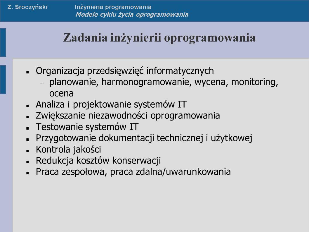 Z. SroczyńskiInżynieria programowania Modele cyklu życia oprogramowania Zadania inżynierii oprogramowania Organizacja przedsięwzięć informatycznych –